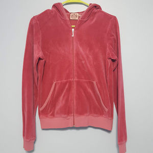 Juicy Couture Velvet Hoodie Track Jacket Size XL